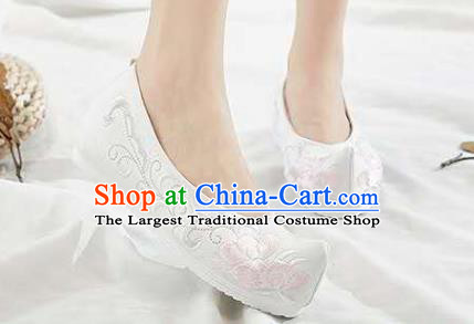 Chinese Hanfu White Shoes Women Shoes Opera Shoes Embroidered Shoes Princess Shoes