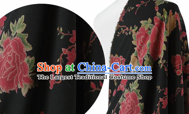 Chinese Classical Peony Magnolia Pattern Design Black Silk Fabric Asian Traditional Hanfu Mulberry Silk Material