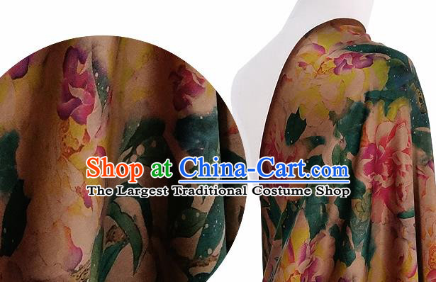 Chinese Classical Peony Pattern Design Deep Pink Silk Fabric Asian Traditional Hanfu Mulberry Silk Material