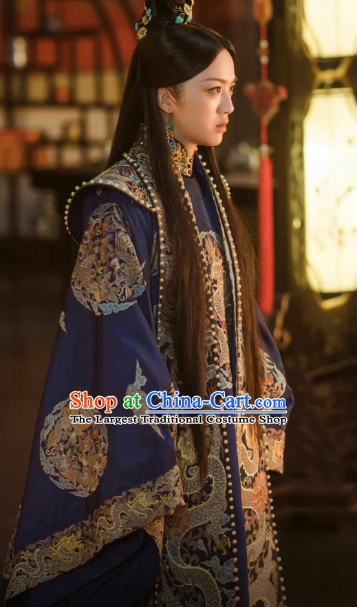 Chinese Ancient Drama Ming Dynasty Imperial Consort Sun Ruowei Replica Costumes and Headpiece Complete Set