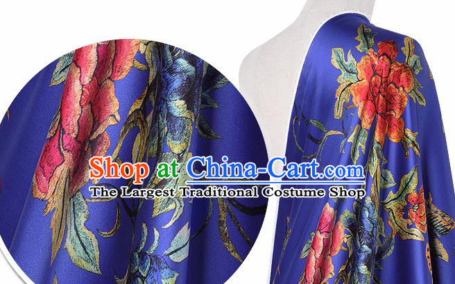 Chinese Classical Peony Butterfly Pattern Design Royalblue Silk Fabric Asian Traditional Hanfu Mulberry Silk Material