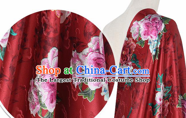 Chinese Classical Cloud Peony Pattern Design Red Silk Fabric Asian Traditional Hanfu Mulberry Silk Material
