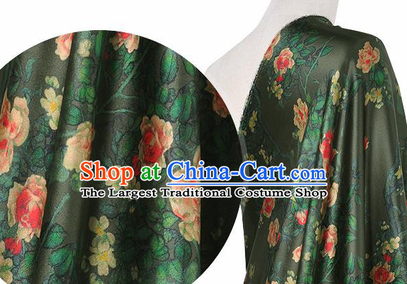 Chinese Classical Roses Pattern Design Atrovirens Silk Fabric Asian Traditional Hanfu Mulberry Silk Material