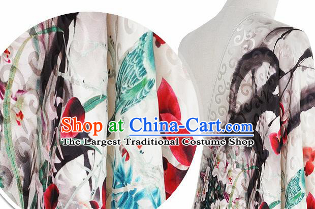Chinese Classical Orchid Bird Pattern Design White Silk Fabric Asian Traditional Hanfu Mulberry Silk Material