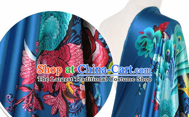 Chinese Classical Peacock Peony Pattern Design Royalblue Silk Fabric Asian Traditional Hanfu Mulberry Silk Material