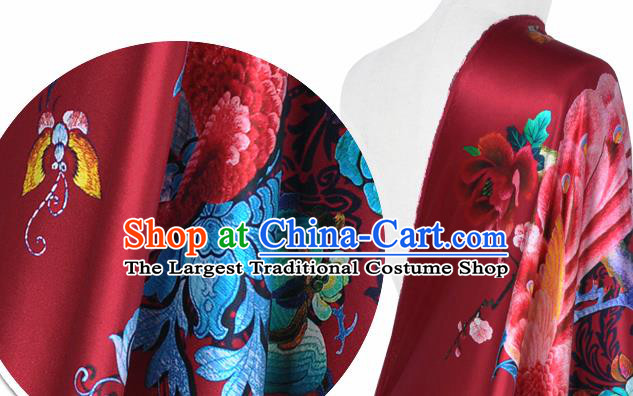 Chinese Classical Peacock Peony Pattern Design Red Silk Fabric Asian Traditional Hanfu Mulberry Silk Material