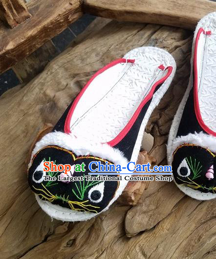 Traditional Chinese Ethnic Embroidered Tiger Black Slippers Handmade National Shoes Hanfu Shoes for Women