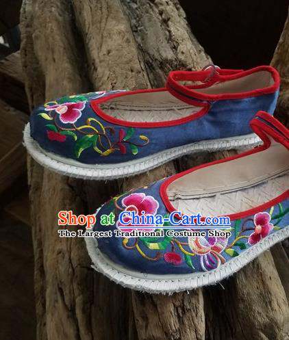 Traditional Chinese Ethnic Embroidered Flower Navy Satin Shoes National Shoes Hanfu Shoes for Women