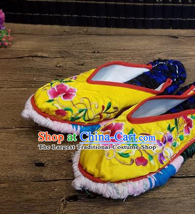 Traditional Chinese Embroidered Flowers Yellow Satin Slippers Handmade Ethnic National Shoes Hanfu Shoes for Women