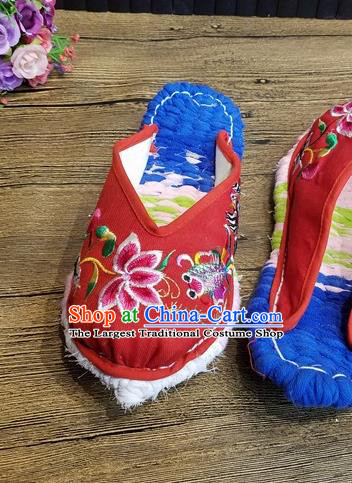 Traditional Chinese Embroidered Flowers Red Satin Slippers Handmade Ethnic National Shoes Hanfu Shoes for Women