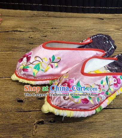 Traditional Chinese Embroidered Flowers Pink Satin Slippers Handmade Ethnic National Shoes Hanfu Shoes for Women