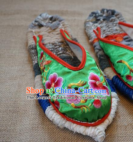 Traditional Chinese Embroidered Flowers Green Satin Slippers Handmade Ethnic National Shoes Hanfu Shoes for Women