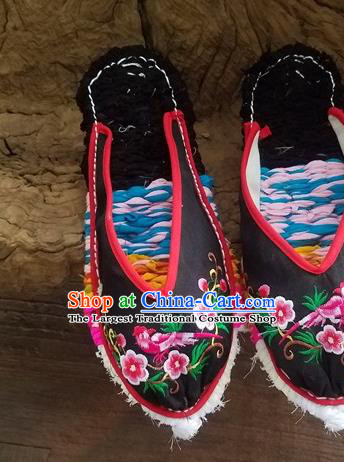 Traditional Chinese Embroidered Flowers Bird Black Slippers Handmade Ethnic National Shoes Hanfu Shoes for Women