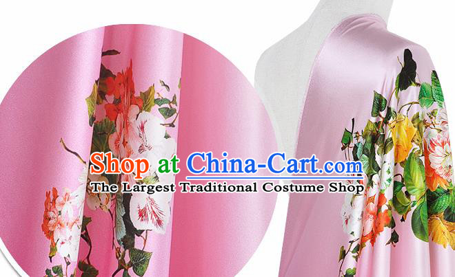 Chinese Classical Flowers Pattern Design Pink Silk Fabric Asian Traditional Hanfu Mulberry Silk Material