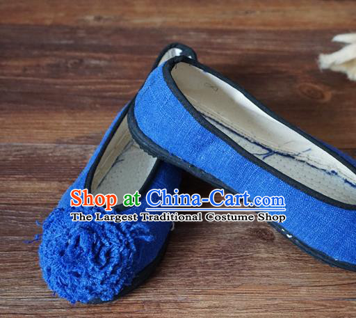 Traditional Chinese Blue Cloth Shoes National Wedding Shoes Hanfu Shoes for Women
