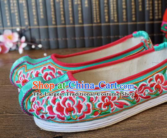 Traditional Chinese Wedding Green Embroidered Shoes Princess Shoes National Shoes Hanfu Shoes for Women
