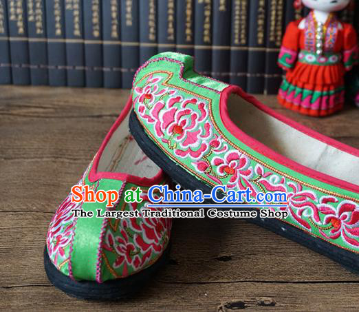 Traditional Chinese Wedding Grass Green Embroidered Shoes Princess Shoes National Shoes Hanfu Shoes for Women