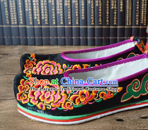 Traditional Chinese Wedding Black Embroidered Shoes Princess Shoes National Shoes Hanfu Shoes for Women