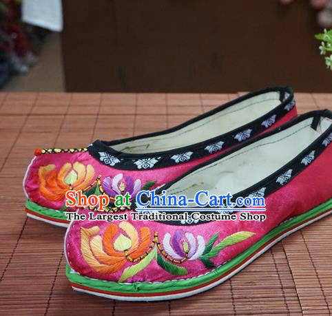 Traditional Chinese Wedding Rosy Embroidered Chrysanthemum Shoes Princess Shoes National Shoes Hanfu Shoes for Women