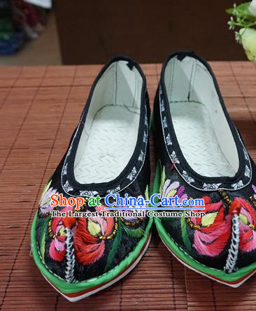 Traditional Chinese Wedding Black Embroidered Chrysanthemum Shoes Princess Shoes National Shoes Hanfu Shoes for Women