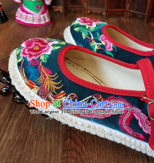 Traditional Chinese National Embroidered Phoenix Peony Peacock Blue Shoes Ethnic Shoes Hanfu Shoes for Women