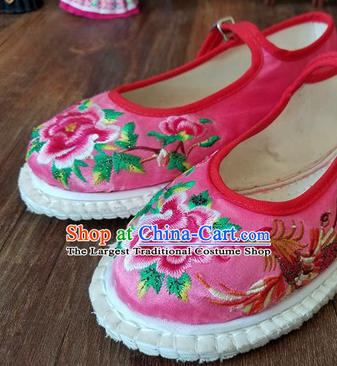 Traditional Chinese National Embroidered Phoenix Peony Pink Shoes Ethnic Shoes Hanfu Shoes for Women