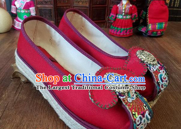 Traditional Chinese Handmade Ethnic Red Shoes Yunnan National Carving Silver Shoes Embroidered Shoes for Women