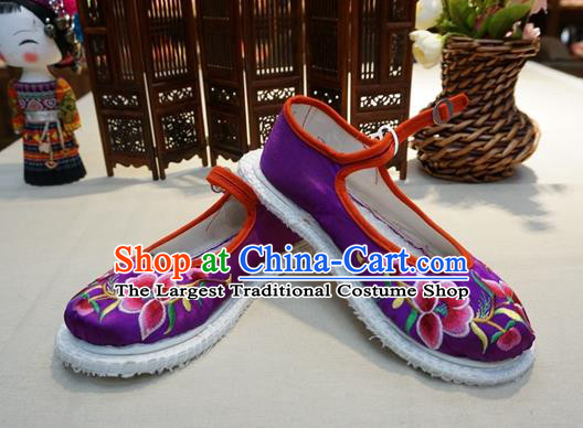Traditional Chinese Wedding Purple Satin Embroidered Shoes Princess Shoes National Shoes Hanfu Shoes for Women