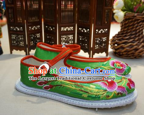 Traditional Chinese Wedding Green Satin Embroidered Shoes Princess Shoes National Shoes Hanfu Shoes for Women