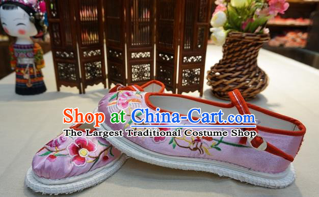 Traditional Chinese Wedding Pink Satin Embroidered Shoes Princess Shoes National Shoes Hanfu Shoes for Women