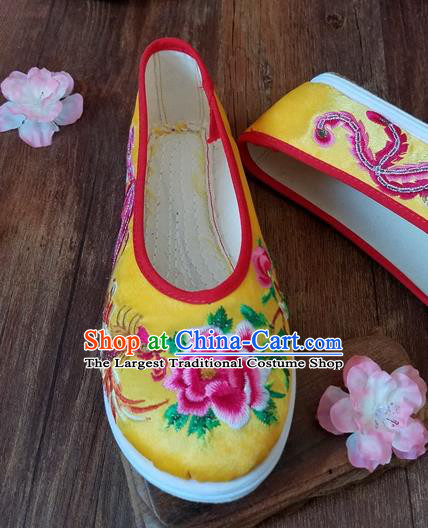Traditional Chinese Wedding Embroidered Phoenix Peony Yellow Shoes National Ethnic Shoes Hanfu Shoes for Women