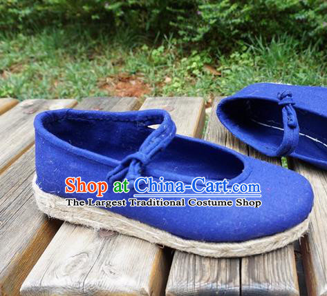 Traditional Chinese National Blue Cloth Shoes Ethnic Shoes Hanfu Shoes for Women