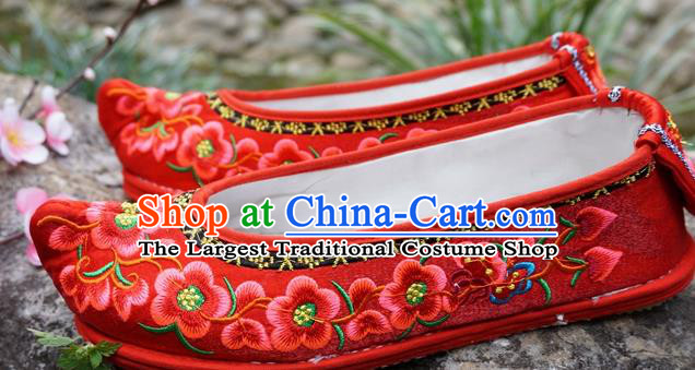 Traditional Chinese Wedding Embroidered Plum Red Shoes National Ethnic Shoes Hanfu Shoes for Women