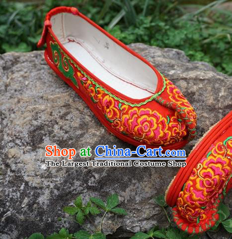 Traditional Chinese Embroidered Peony Red Shoes National Ethnic Wedding Shoes Hanfu Shoes for Women