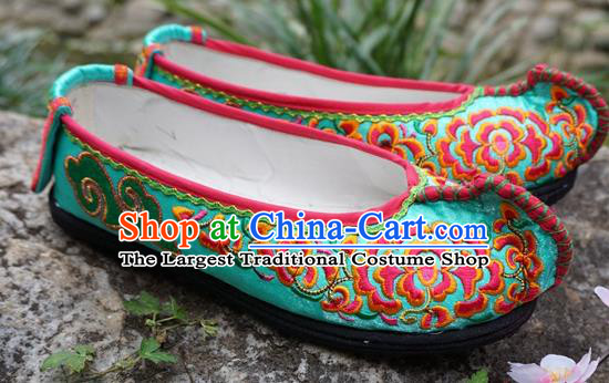 Traditional Chinese Embroidered Peony Green Shoes National Ethnic Wedding Shoes Hanfu Shoes for Women