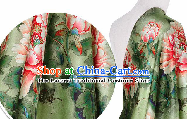 Chinese Classical Peony Pattern Design Light Green Silk Fabric Asian Traditional Hanfu Mulberry Silk Material