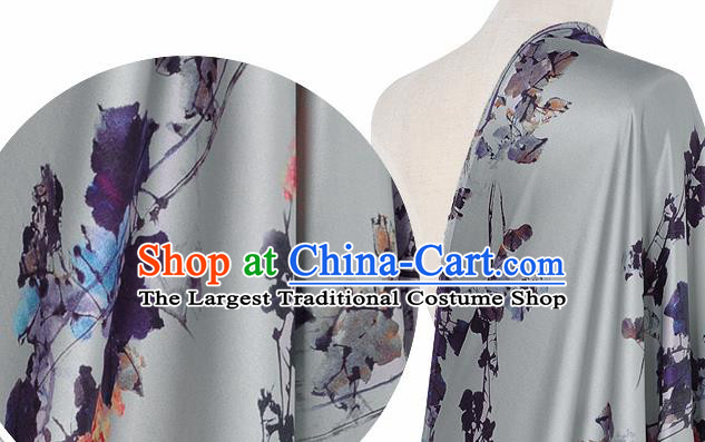 Chinese Classical Pattern Design Grey Silk Fabric Asian Traditional Hanfu Mulberry Silk Material