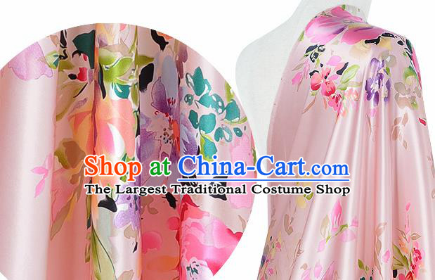 Chinese Classical Flowers Pattern Design Light Pink Silk Fabric Asian Traditional Hanfu Mulberry Silk Material