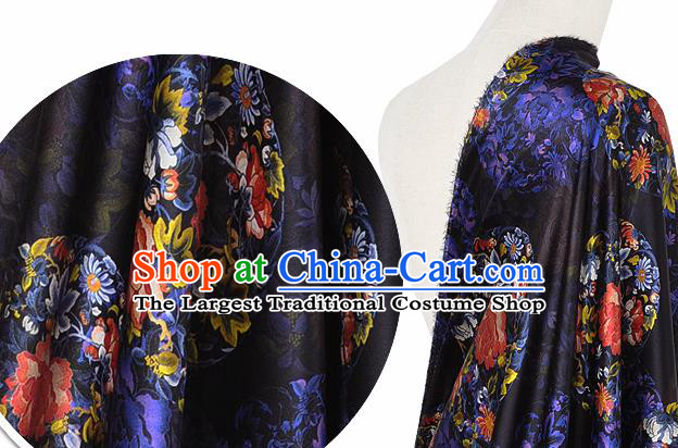 Chinese Classical Peony Chrysanthemum Pattern Design Black Silk Fabric Asian Traditional Hanfu Mulberry Silk Material