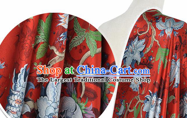 Chinese Classical Equinox Flower Pattern Design Red Silk Fabric Asian Traditional Hanfu Mulberry Silk Material