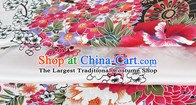 Chinese Classical Orchid Peony Pattern Design White Silk Fabric Asian Traditional Hanfu Mulberry Silk Material