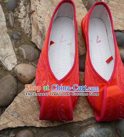 Traditional Chinese Red Embroidered Shoes National Ethnic Wedding Shoes Hanfu Shoes for Women