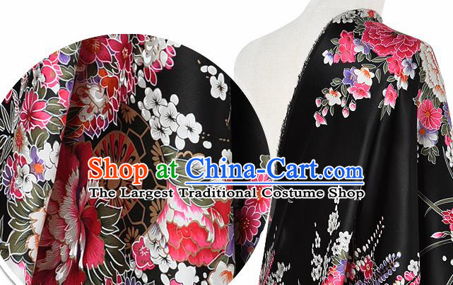 Chinese Classical Orchid Peony Pattern Design Black Silk Fabric Asian Traditional Hanfu Mulberry Silk Material