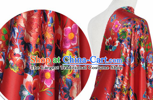 Chinese Classical Peony Grape Pattern Design Red Silk Fabric Asian Traditional Hanfu Mulberry Silk Material