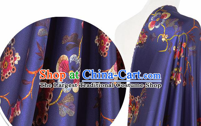 Chinese Classical Plum Blossom Pattern Design Purple Silk Fabric Asian Traditional Hanfu Mulberry Silk Material