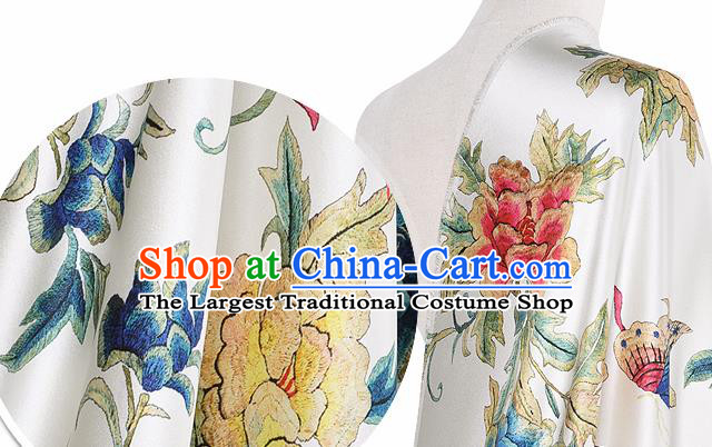 Chinese Classical Peony Pattern Design White Silk Fabric Asian Traditional Hanfu Mulberry Silk Material