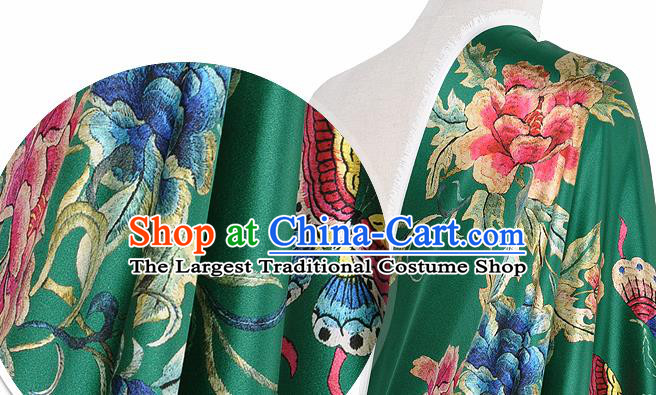 Chinese Classical Peony Pattern Design Green Silk Fabric Asian Traditional Hanfu Mulberry Silk Material