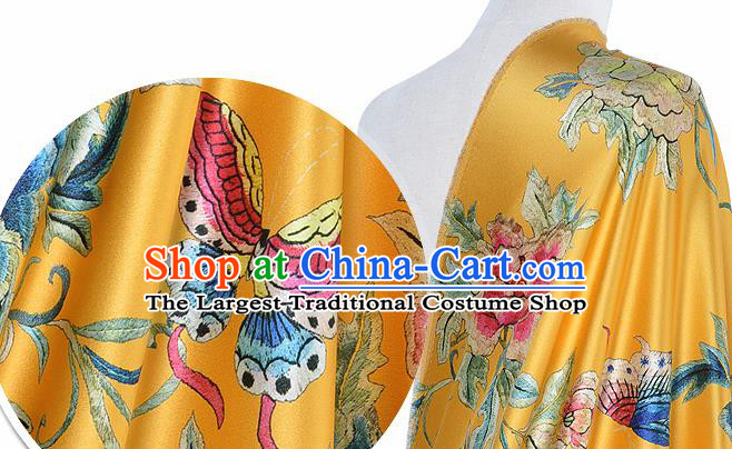 Chinese Classical Peony Pattern Design Yellow Silk Fabric Asian Traditional Hanfu Mulberry Silk Material