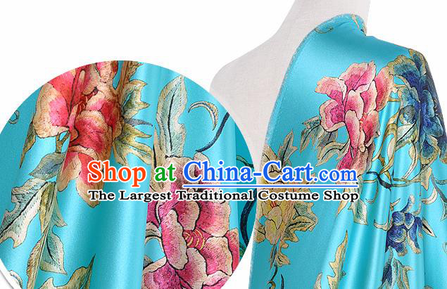 Chinese Classical Peony Pattern Design Blue Silk Fabric Asian Traditional Hanfu Mulberry Silk Material