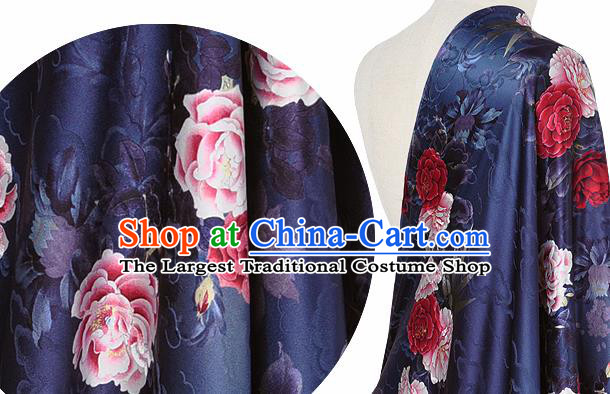 Chinese Classical Cloud Peony Pattern Design Navy Silk Fabric Asian Traditional Hanfu Mulberry Silk Material